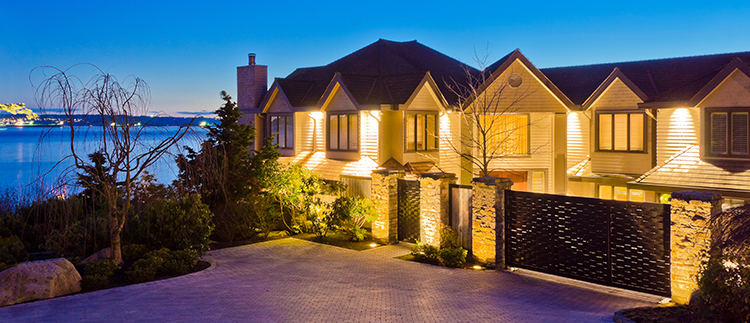 Evening exterior lighting