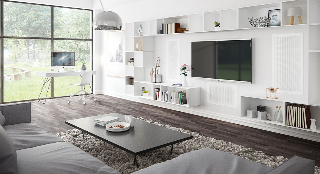 Origin Hifi Blog | Media Room layout with television and surround sound speakers built into the wall