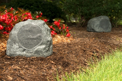 Picture of Klipsch rock speakers for outdoor audio.
