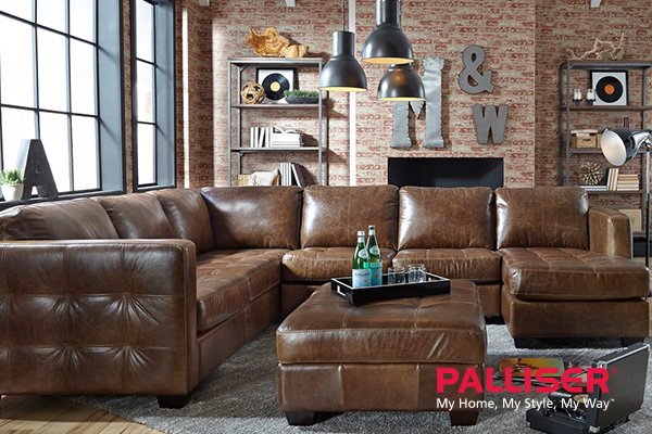 Picture of custom Palliser couch with logo.