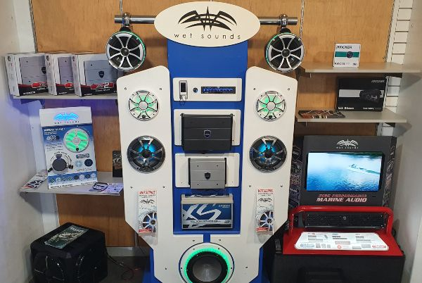Picture of a Wet Sounds marine audio display in the store.