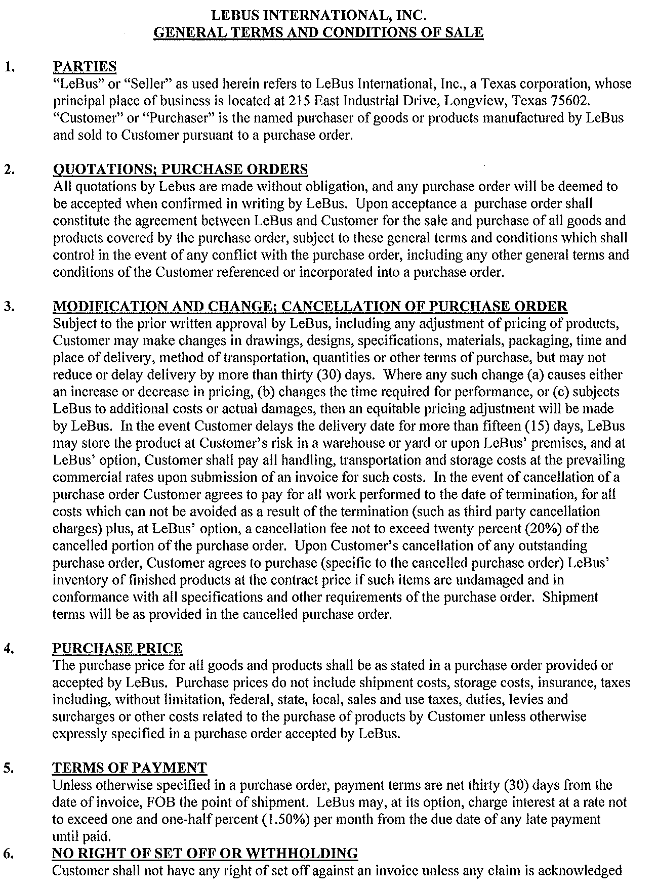 General Terms - Page 1