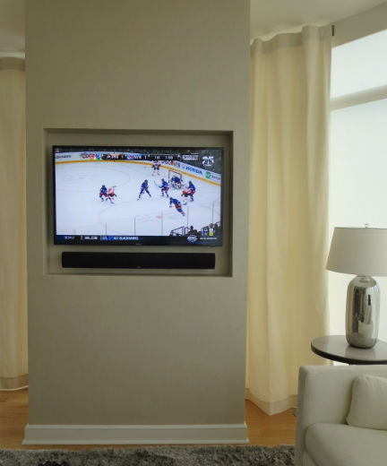 Elegant, recessed TV display
