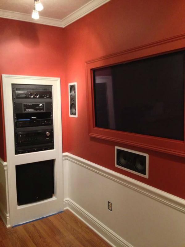 Recessed TV, Custom hand made TV frame Surround Sound