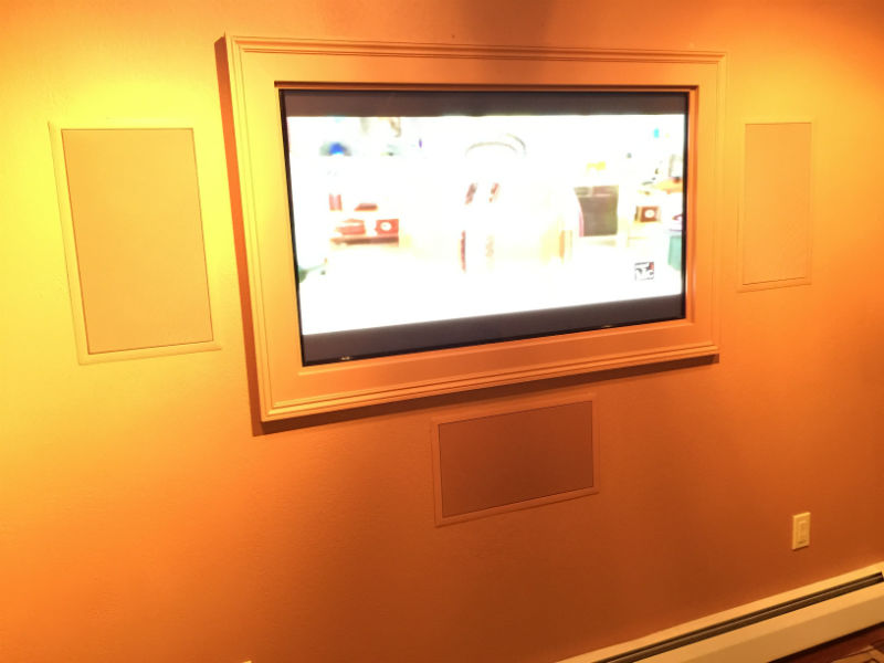 Custom Recessed Tv with a hand built frame. Innovative Audio Visual, LLC Erie, PA