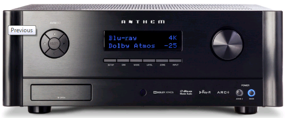 Anthem AVM60 Preamp processor front view