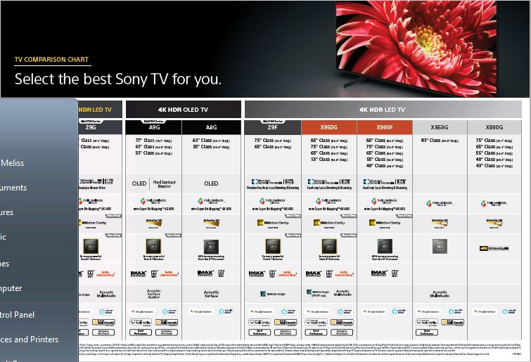 Link for Sony 2019 comparison chart