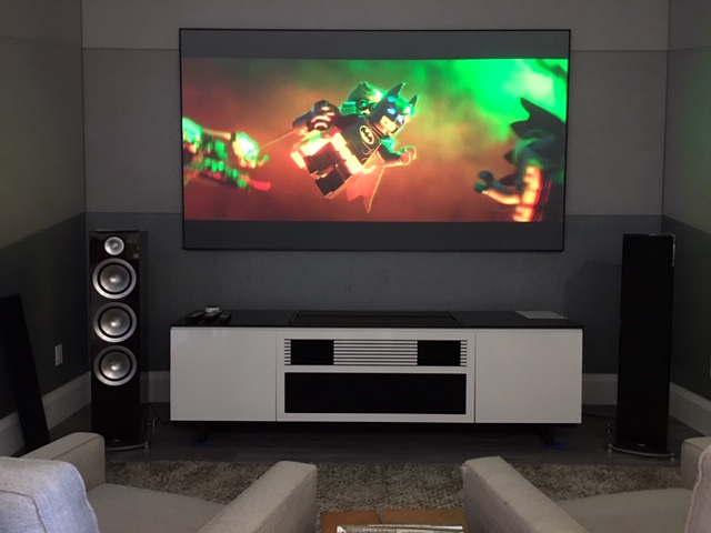Sony, Anthem, Paradigm and Pioneer short throw projector demo room