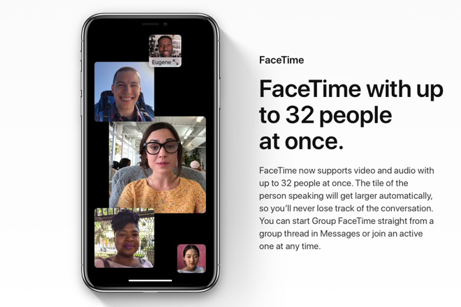 ios12 adds group FaceTime to the iPad and iPhone, allowing up to 32 people to video chat at once.