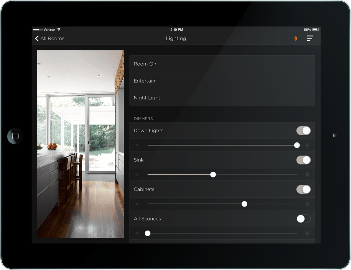 Savant smart home shades lighting control