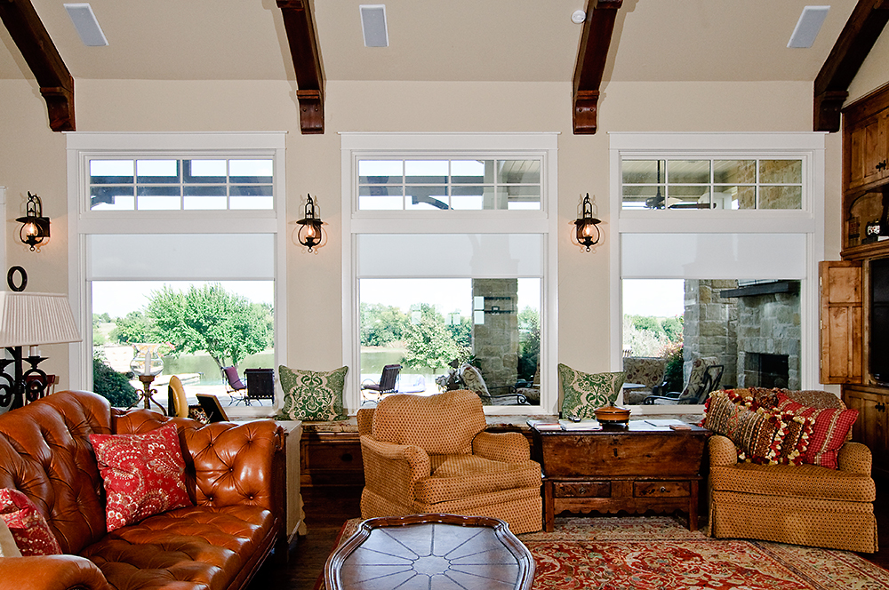 Motorized Qmotion Lutron shades in DFW Country Home