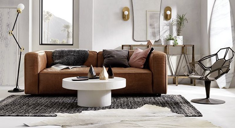 The CB2 Lenyx is a comfortable media room sofa that is absurdly stylish. Home theater furniture shouldn't look this cool.