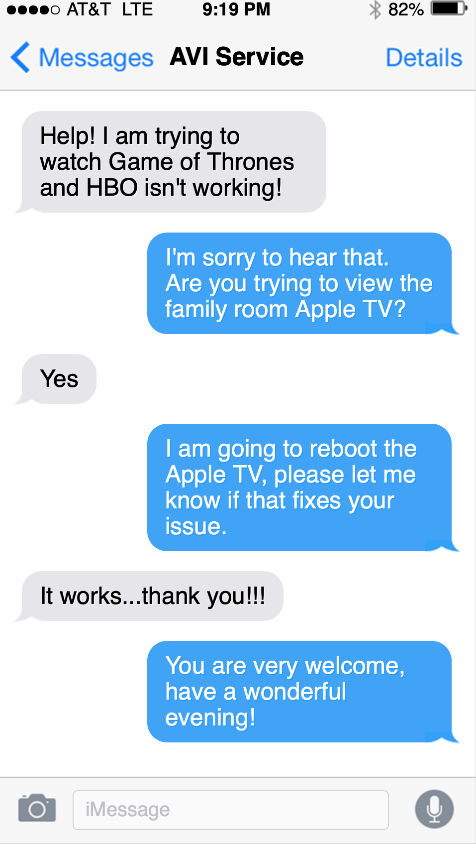 24/7 support in iOS text message for Dallas smart home with Control4, Savant, and ELAN