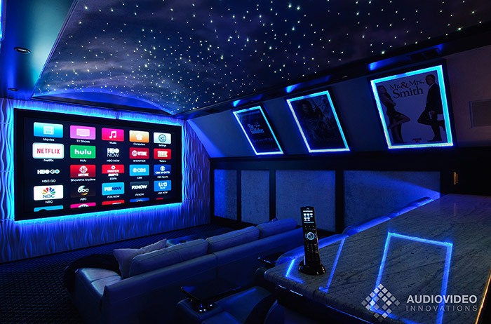 Private Frisco Home Theater with projector and star field ceiling.