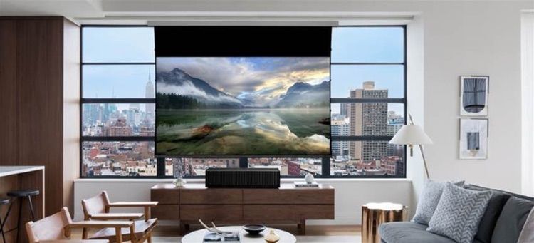 Ultra short throw projectors are the best way to get a huge image in any space. Options such as the Epson LS-100 and the Sony VPL-VZ1000ES provide stunning images without the hassle of installing a traditional projector in your transitional Dallas luxury home.