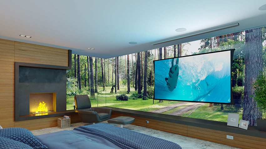 Screen Innovations projection screens in Dallas, TX are the leader in home theater screens. LED LG, Sony and Epson projectors look great on Screen Innovations screens in modern living rooms or transitional Highland Park media rooms.
