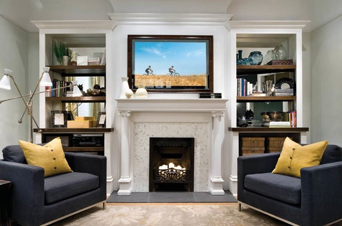 Hidden TV Fireplace Mirror TV Bathroom Artwork Samsung Frame