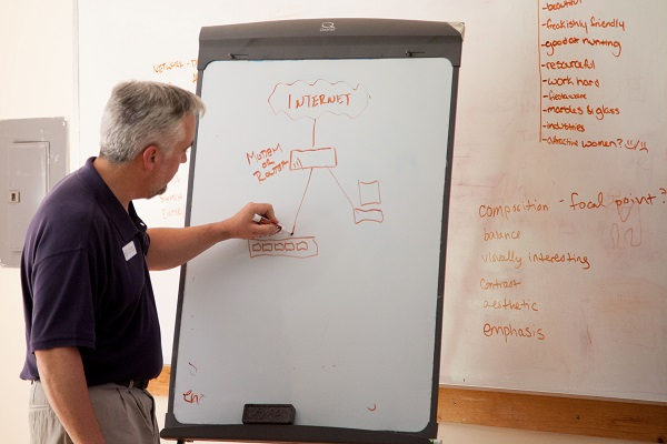President Bill Lenherr leads a technology lesson at a youth summer camp in Pocahontas County, WV.