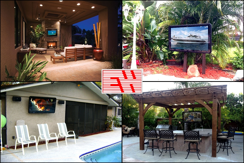 Electronics World past project images of outdoor TV installations.