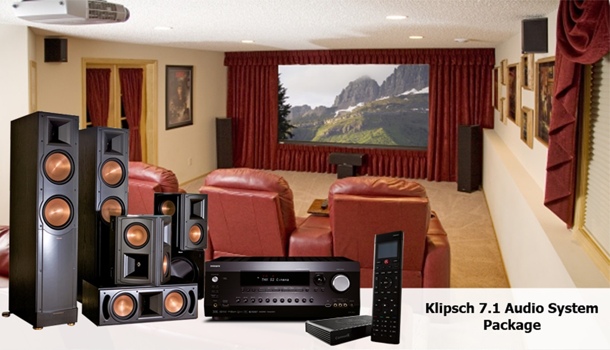 home sound system design. klipsch 7.1 audio system package home sound design