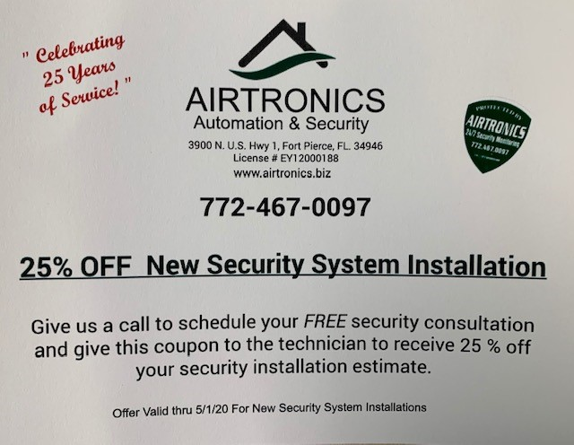 25% off coupon for new security system installation